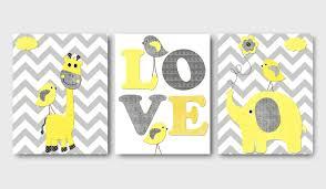 Description. Giraffe Elephant love Canvas Art Yellow and Gray Nursery Wall  ...