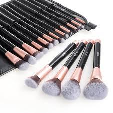anjou makeup brush set 16pcs premium cosmetic brushes for foundation blending blush concealer eye shadow free synthetic fiber bristles