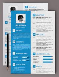 Free Flat Resume PSD Template with CV