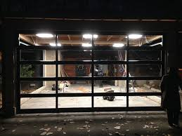 Oversized Aluminum Glass Clear Garage Door Installation in Custom