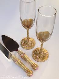 Pink And Gold Toasting Flute & Cake Server Set Pink And Gold with
