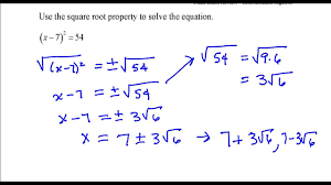 use the square root property to solve the equation