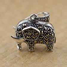gz 925 silver elephant pendant marcasite 100 pure s925 solid thai silver animal pendants for men jewelry making