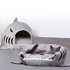 <b>Shark Cat</b> House <b>Pet</b> Soft Bed Basket <b>Dog</b> Cushion Cute Katten ...