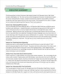 executive summary format for project report sample management report