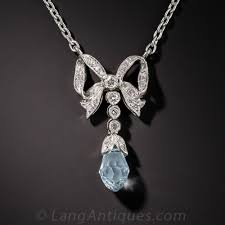 vintage style aquamarine platinum and diamond pendant previous to enlarge photo