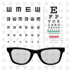 Snellen Eye Test Chart With Glasses Stock Vector Image