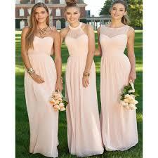Light Pink Bridesmaid Dresses Long Us 76 49 15 Off Elegant Long Light Pink Bridesmaid Dress 2017 Halter Pleat Chiffon Bridesmaid Dresses Peach Cheap Bridesmaids Dresses In Bridesmaid