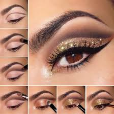 centered around varying shades of gold this look highlights the plexities and depths of brown