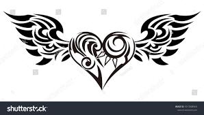 Tribal Angel Designs Tribal Tribal Sticker Heart Wings Design Stock Vector