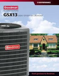 goodman gsx13. goodman gsx 13 seer air conditioners consumer brochure gsx13 2