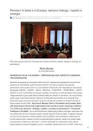Pensioni in Italia e in Europa, servono dialogo, rispetto e sinergia
