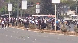 the students were arrested on tuesday following day long battles with police as they marched
