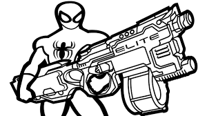 Small Picture Spiderman wiht Nerf Gun Coloring Book Coloring Pages Kids Fun Art