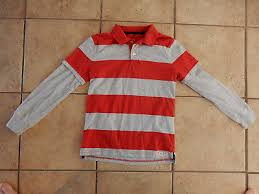 gap kids boys red heather gray striped rugby collared long sleeve shirt m