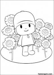 Printable Coloring Pages For Kids Pocoyo With Flowers Printable