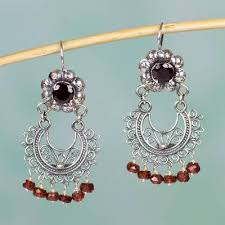 garnet chandelier earrings mazahua lady sterling silver mazahua style garnet chandelier earrings