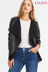 oasis womens faux leather waterfall jacket black x large 52 00 trinity leeds