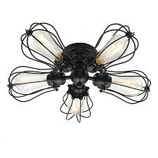 electro bp vintage barn metal semi flush mount light max 300w with 5 lights black finish