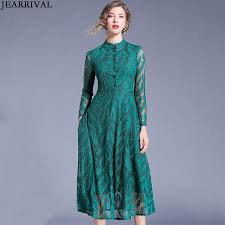 Designer Long Midi Dresses Us 24 49 40 Off Jearriva Hollow Out Lace Dress 2019 Designer Long Sleeve Stand Collar Fashion Slim Office Work Ladies Elegant Midi Dress Vestido In