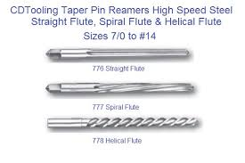 Threaded Taper Pin Chart Taper Pin Reamers Sraight Spiral Helical Flute Hss Sizes