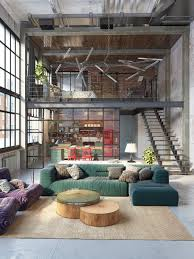 Living Room Design: Colourful Two Storey View Industrial Inspired Living  Room - Industrial Modern Living