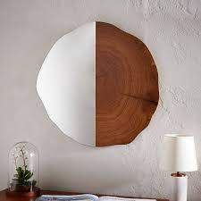 Wood wall mirrors Rustic West Elm Tree Ring Wall Mirror West Elm