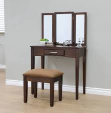 Great Bedroom Vanity Set Stool Mirror Table Espresso Furniture Seat Drawer Wood  Makeup