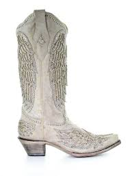 Corral White Cross And Wings Boots A3571