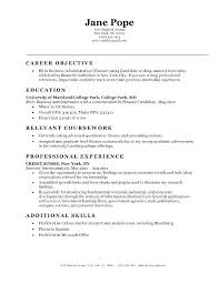 Finance Objective Resume Resume Objectives Free Sample Example