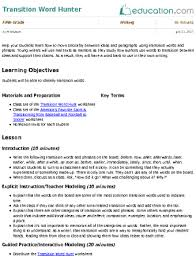 transitioning sentences transition word hunter lesson plan education com lesson plan