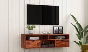 lynton wall mounted tv unit honey
