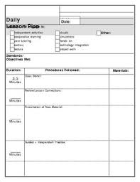 Lesson Plan Printable Template Printable Lesson Plan Template Clear Easy One Page Teacher