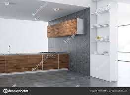 modern kitchen corner wooden countertops cupboards concrete floor grey corner tv stand grey corner