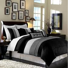 details about luxury stripe bedding black grey and white queen size 8 piece comforter set