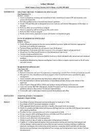Data Warehouse Specialist Sample Resume Warehouse Specialist Resume Samples Velvet Jobs 1