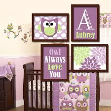 Purple Lover Full Decoration Owl Themed Baby Nursery Multiple Painting  Framed Wooden Furniture