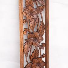 long tropical hibiscus five flowers wood panel  on indonesian wooden wall art with long tropical hibiscus five flowers wood panel hand carved wall decor