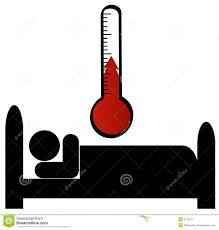 Mann Im Bett Mit Temperatur Vektor Abbildung Illustration Von Bett