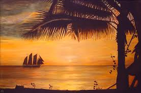 silhouette painting sunset silhouette by ronald haber