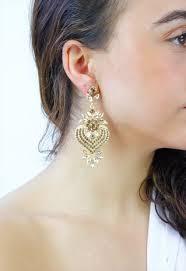 gold chandelier diamante drop dangle earrings