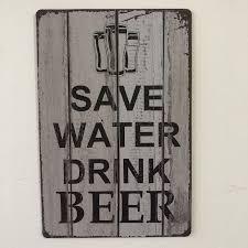 [Luckyaboy] Save Water Drink <b>Beer</b> Plaque <b>Vintage Metal Tin</b> Signs ...