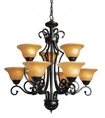 antique wrought iron chandelier 209 37 yellow shades nine lights