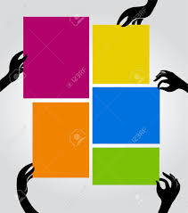 Poster Templet Vertical Poster Templates With Black Hands Stock Photo Picture And