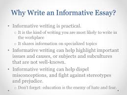 introducing essay and informative writing ppt video online  why write an informative essay