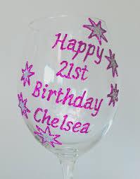 personalised 21st birthday gift wine gl chagne flute stars design