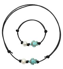 pearlypearls single freshwater cultured pearl choker necklace jewelry sets with turtle turquoise on leather cord