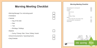 Editable Sen Morning Meeting Routine Checklist