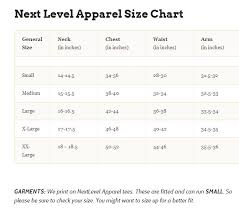 Industry Print Shop Apparel Size Chart
