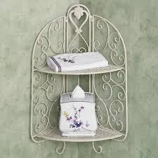 wrought iron bathroom shelf. Furniture. White Wrought Iron Aldabella Creamy Gold Corner Wall Shelf On Grey Bathroom Wall. 8